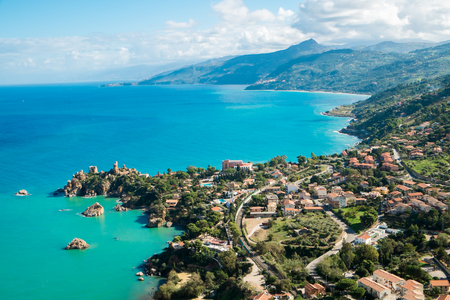 Aerial view of north Sicily coast from Cefalu Italy