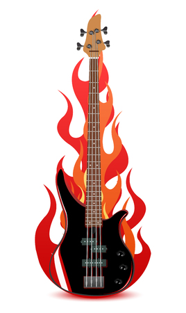 Vector illustration of bass guitar in flames isolated on white background