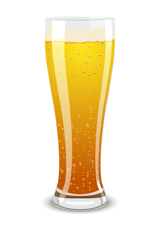 Vector illustration of a beer glass over white background
