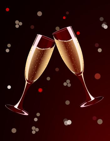 Vector illustration of champagne glasses splashing on holiday background