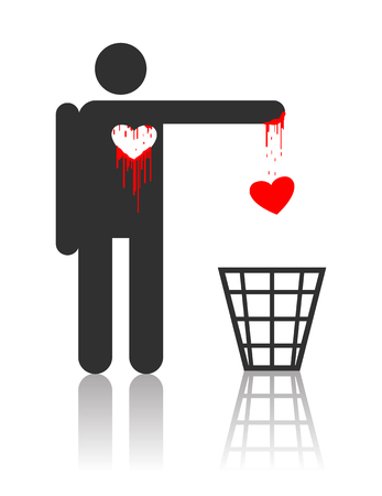Illustration pour Vector character throwing out his bloody heart, concept for St. Valentines day  - image libre de droit