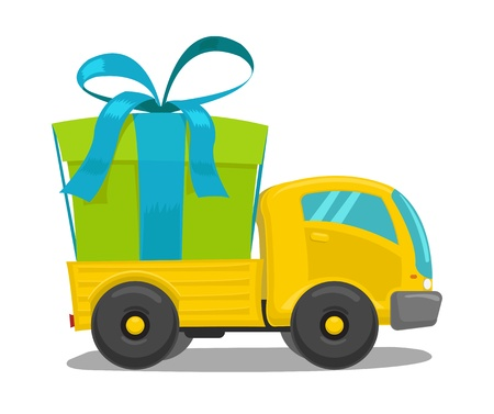 Photo for Vector truck with cute gift box  - Royalty Free Image