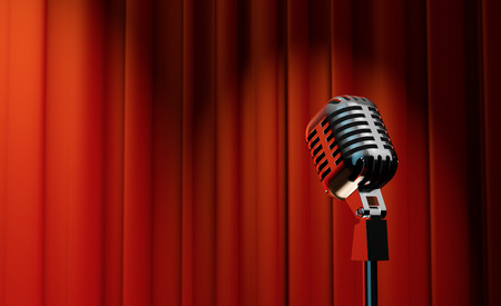 3d retro microphone on red royal curtain background