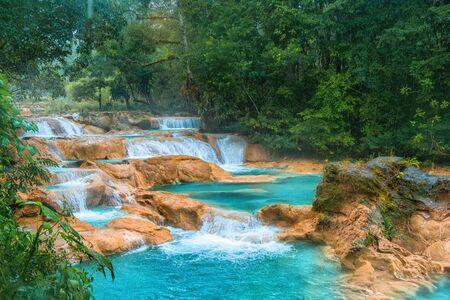 Photo for Cascadas de Agua Azul waterfalls. Agua Azul. Yucatan. Mexico - Royalty Free Image