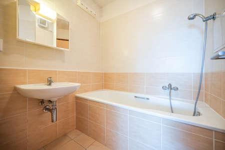 Photo pour Bathroom and toilet in an apartment for rent. Real estate photo. - image libre de droit