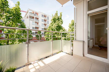 Photo for View from balcony, sunny day, clouds, wide angle real estate photo. - Royalty Free Image