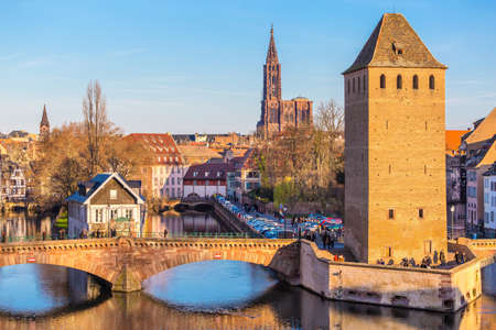 Historical old Bridge in Petit france, Strasbourg, Alsace