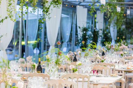 Photo pour Tables decorated for a party or wedding reception - image libre de droit