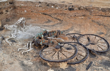 Ancient thracian chariot with two horses, as a part of nobel man