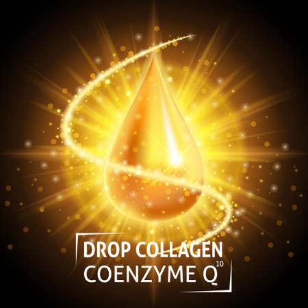 Illustration pour Serum Collagen Coenzyme Q10, realistic golden drop. Taking care of the skin. Anti age hyaluronic serum. Design cosmetics. Vector illustration. - image libre de droit