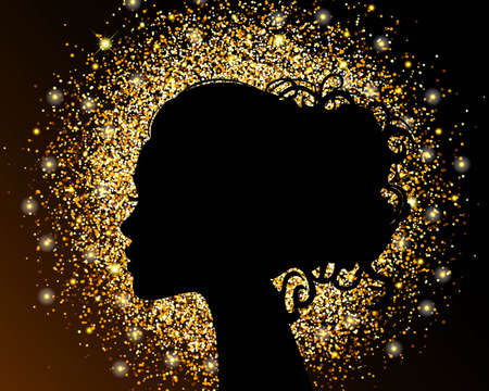 Illustration for The black silhouette of a girl on a gold background, sand, crumbly texture foil. The bright design of a beauty salon. Vector illustration. - Royalty Free Image