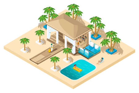 Illustration pour Isometric rest house, a girl with a suitcase from the plane goes to the reception, luxurious rest, palm trees, pool, sand. - image libre de droit