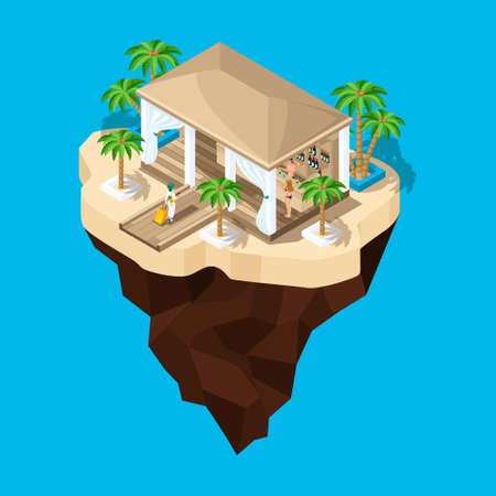 Illustration pour Isometry is a fabulous island, a cartoon, a girl with a suitcase goes to the hotel, a game landscape. Holidays in warm countries. - image libre de droit