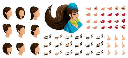 Ilustración de Isometry of the stewardess girl with a set of emotions for the creation of her character. A large set of lips, hair, eyes, nose. Beauty Facial Designer set 4. - Imagen libre de derechos