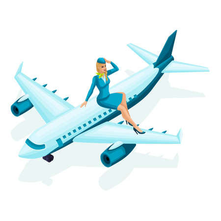 Ilustración de Isometric stewardess sits on the airplane. Beautiful girl in colorful clothes, uniform, makeup, hairstyle. A woman in her favorite work set 3. - Imagen libre de derechos