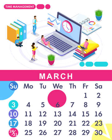 Isometric Month March From Set Calendar Of 2019 Time Management Banner Concept Creating A Business Strategy Isometric People On A White Background Royalty Free Vector Graphics