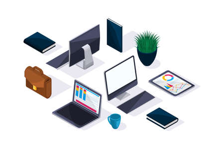 Illustration pour Business accessories in isometric, beautiful concept of advertising and presentations. Laptop, tablet, monitor, briefcase. - image libre de droit