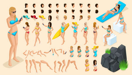 Large isometric Set of gestures of hands and feet 3d girl. Create your character vacationing tourist, a girl in a swimsuit for summer vector illustrations.