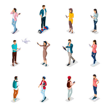 Illustration pour Trendy Isometric people and gadgets, teenagers, young people, students, using hi tech technology, mobile phones, pad, laptops, make selfie, smart watches are isolated. - image libre de droit