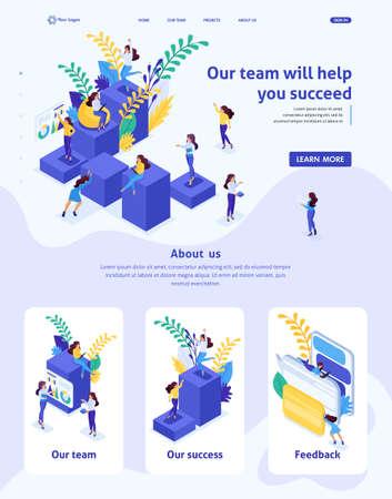 Illustration pour Isometric Website Template Landing page concept concept career ladder for women, success in big business. Business lady succeeds. Adaptive 3D. - image libre de droit