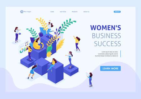 Illustration pour Isometric concept career ladder for women, success in big business. Business lady succeeds. Website Template Landing page. - image libre de droit