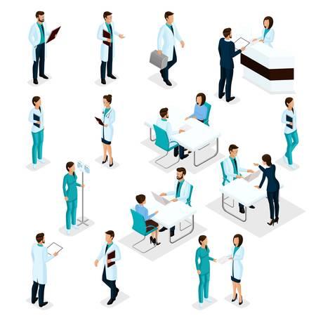 Illustration pour Set Isometric Doctors Hospital Staff Nurse 3D surgeons and patients. Health experts hospital isolated on white background. Vector illustration. - image libre de droit