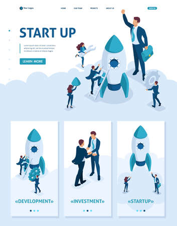 Isometric Website Template Landing page development and startup business. Businessmen create a rocket. Adaptive 3D.