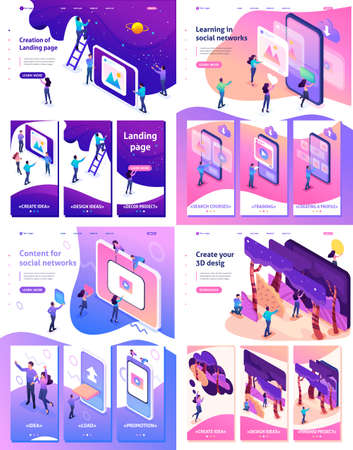 Set Template Landing Page App Design Isometric Concept 3d Design Learning Content For Social Network Royalty Free Vector Graphics