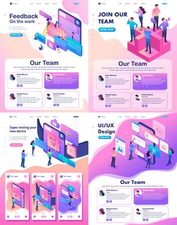 Illustration pour Set Isometric Website Template Landing page concept testing device, feedback, ux design, join our team. - image libre de droit