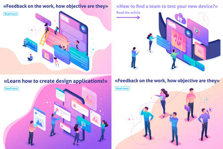 Illustration pour Isometric Template banner article bright concept testing device, feedback, ux design, join our team. - image libre de droit