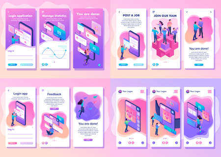 Ilustración de Set Isometric Template app bright concept testing device, feedback, ux design, join our team, smartphone apps. - Imagen libre de derechos