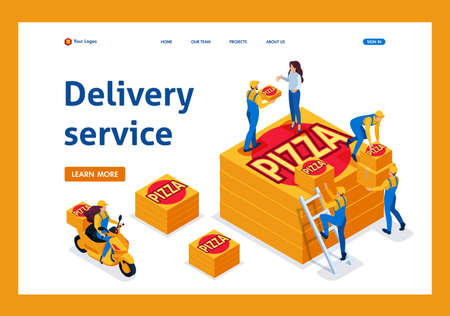 Ilustración de Isometric delivery service collects the order, the girl on the bike carries a pizza. Template Landing page. - Imagen libre de derechos