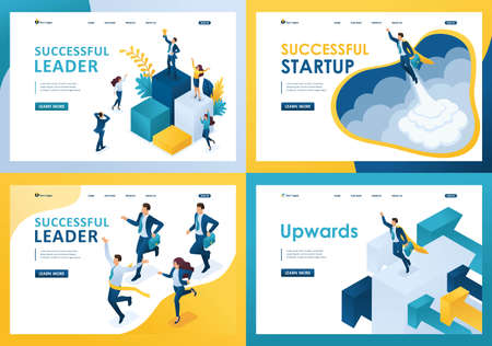 Ilustración de Set design web page templates of successful business. Modern illustration concepts for website and mobile website development. - Imagen libre de derechos