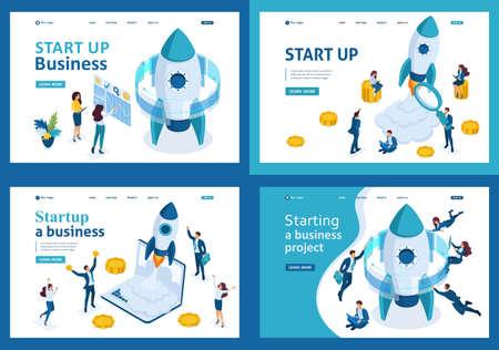 Illustration pour Set design web page templates of business start up. Modern illustration concepts for website and mobile website development. - image libre de droit