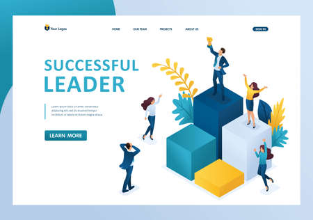 Vektor für Isometric successful leader on the podium with a prize, the team enjoys success. Template landing page - Lizenzfreies Bild