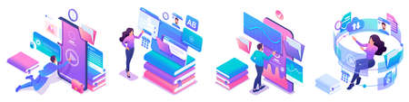 Ilustración de Isometric set of bright concepts on the topic of learning, young people are online education using tablets and phones. - Imagen libre de derechos
