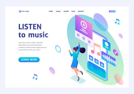 Illustration pour Isometric concept The girl listens to music on the smartphone through the app, dancing and rejoicing. For advertising concepts and web design. - image libre de droit