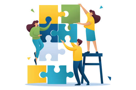 Ilustración de Young people connecting puzzle elements, teamwork, cooperation, partnership. Flat 2D character. Concept for web design. - Imagen libre de derechos