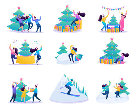 Set of concepts of vacationing people, winter entertainment, Christmas celebration.