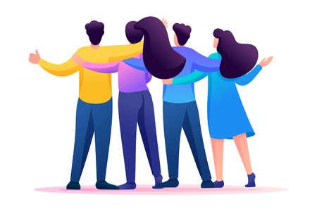 Illustration pour Meeting friends, friends are standing in an embrace, joy, friendship. Flat 2D character. Concept for web design. - image libre de droit