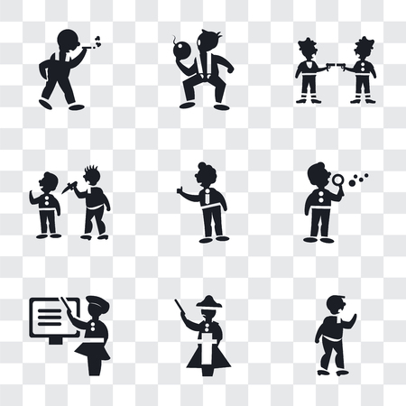 Set Of 9 simple transparency icons such as Man Punching, Napoleon figure, Woman Teaching, making soap bubbles, Tumb up business man, attacking, Gangsters, The Texas Chain Saw Massacre,