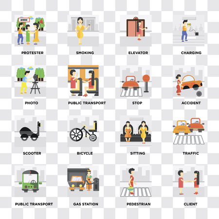 Illustration pour Set Of 16 icons such as Client, Pedestrian, Gas station, Public transport, Traffic, Protester, Photo, Scooter, Stop on transparent background, pixel perfect - image libre de droit
