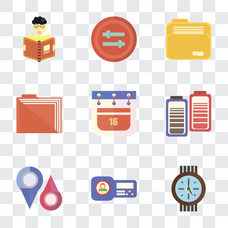 Set Of 9 simple transparency icons such as Clock, Id card, Placeholders, Battery, Calendar, Folder, Controls, Reading, can be used for mobile, pixel perfect vector icon pack on transparent