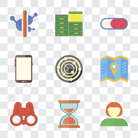 Set Of 9 simple transparency icons such as User, Hourglass