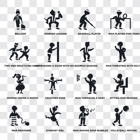 Illustration pour Set Of 16 transparent icons such as Volleyball Motion, Man making soap bubbles, Gymnast Girl, War prisioner, Two Men Practicing Karate, web UI icon pack, pixel perfect - image libre de droit