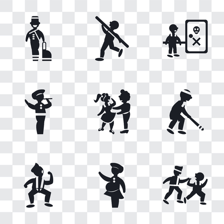 Illustration pour Set Of 9 simple transparency icons such as Two Men Practicing Karate, Woman covering, Dancing Motion, Baseball Player, Man Hugging, playing a flute, Waves Danger, Shot Put, Bellhop, can be used - image libre de droit