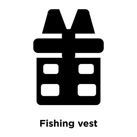Fishing vest icon vector isolated on white background, logo concept of Fishing vest sign on transparent background, filled black symbol