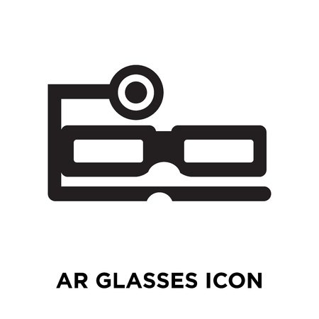 Ar glasses icon vector isolated on white background, logo concept of Ar glasses sign on transparent background, filled black symbol