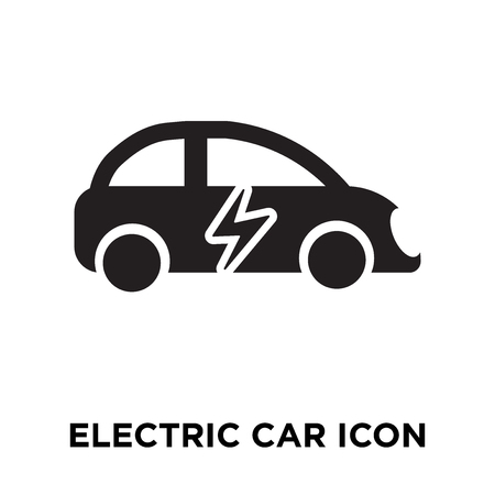 Electric car icon vector isolated on white background, logo concept of Electric car sign on transparent background, filled black symbol