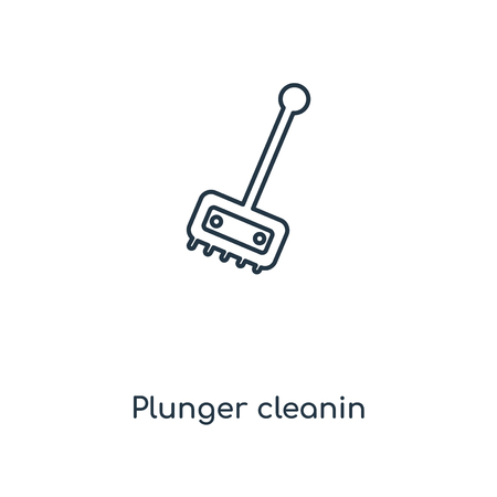 Plunger cleanin concept line icon. Linear Plunger cleanin concept outline symbol design. This simple element illustration can be used for web and mobile UI/UX.